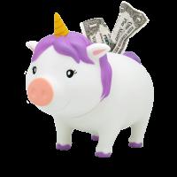 LILALU BIGGYS piggy bank unicorn white left half