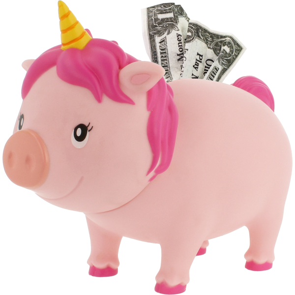 LILALU BIGGYS piggy bank unicorn pink left half