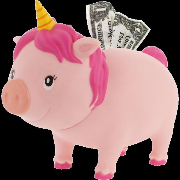 LILALU BIGGYS Sparschwein Einhorn pink geöffnet Schrägansicht links