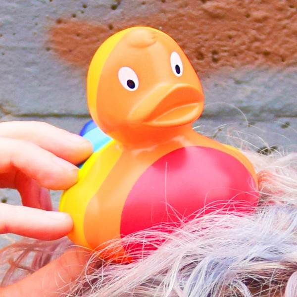 LILALU rubber duck Rainbow in colorful hair