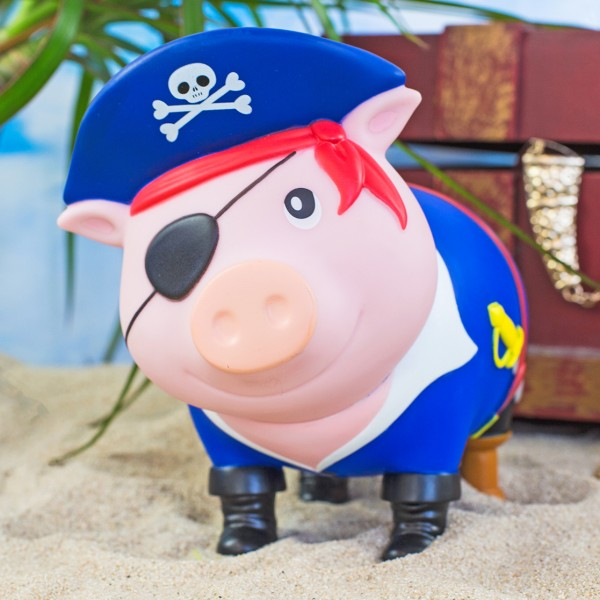 LILALU BIGGYS piggy bank Pirate in front of a treasure chest