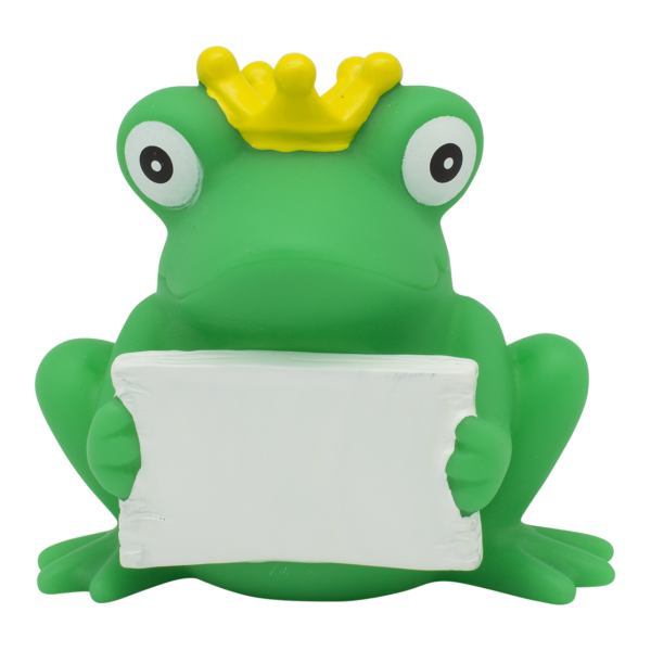 Frog with greeting sign