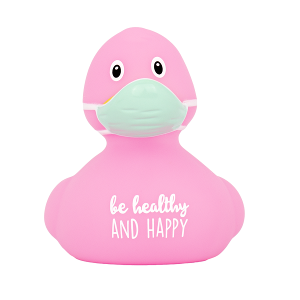 LILALU rubber duck Corona pink lettering front view