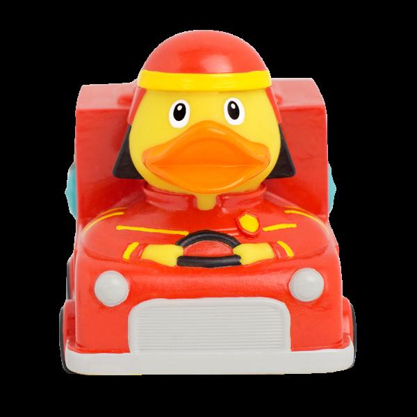LILALU Quietscheente Feuerwehrauto Frontansicht