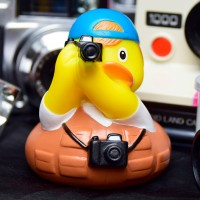 LILALU rubber duck photographer in front of cameras