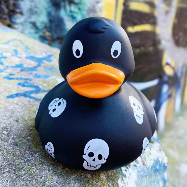 LILALU rubber duck with skulls on a stone