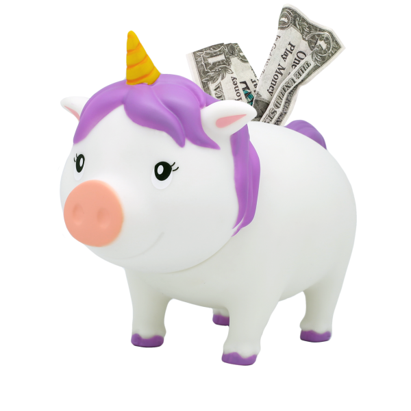 LILALU BIGGYS piggy bank unicorn white left half