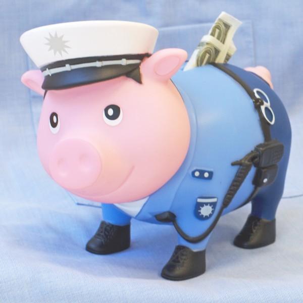LILALU BIGGYS piggy bank Policeman on a shirt