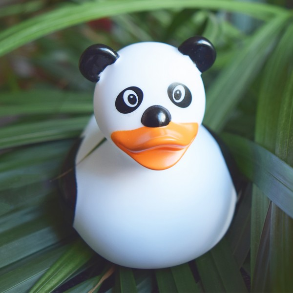 LILALU rubber duck Panda on a plant