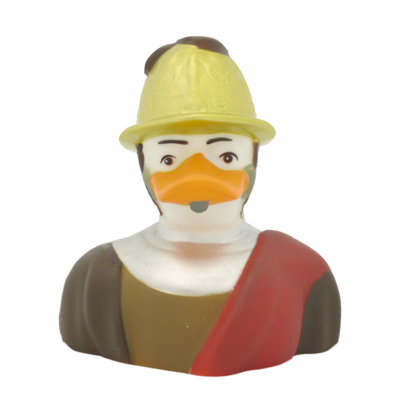 Duck with a gold helmet