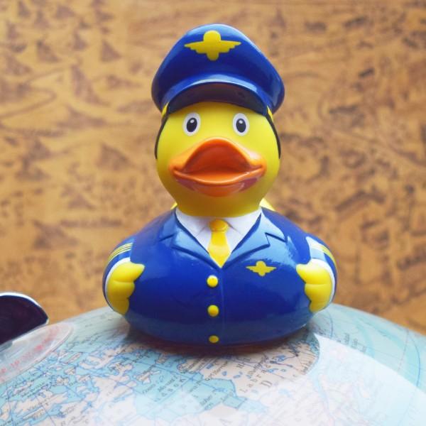 LILALU Quietscheente Pilot auf einem Globus
