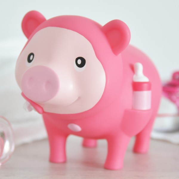 LILALU BIGGYS piggy bank baby girl on a cupboard
