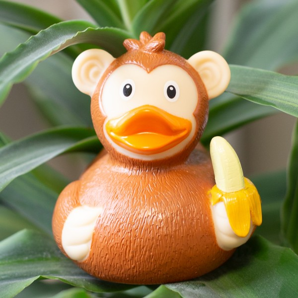 LILALU rubber duck monkey on a plant