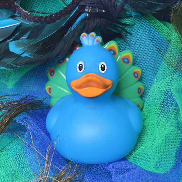 LILALU rubber duck peacock on tulle