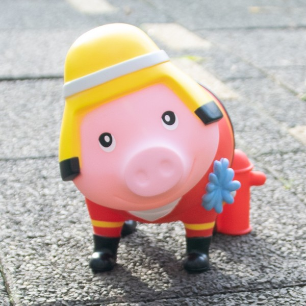 LILALU BIGGYS piggy bank fireman on the street